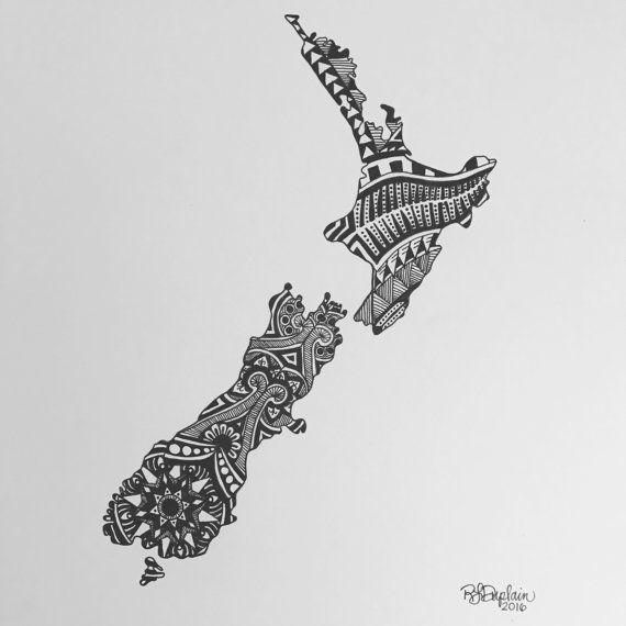 Custom, drawn-to-order, pen and ink New Zealand design. #zentangle #mandala #blackandwhite #illustration #penandink #NewZealand #stateart #art
