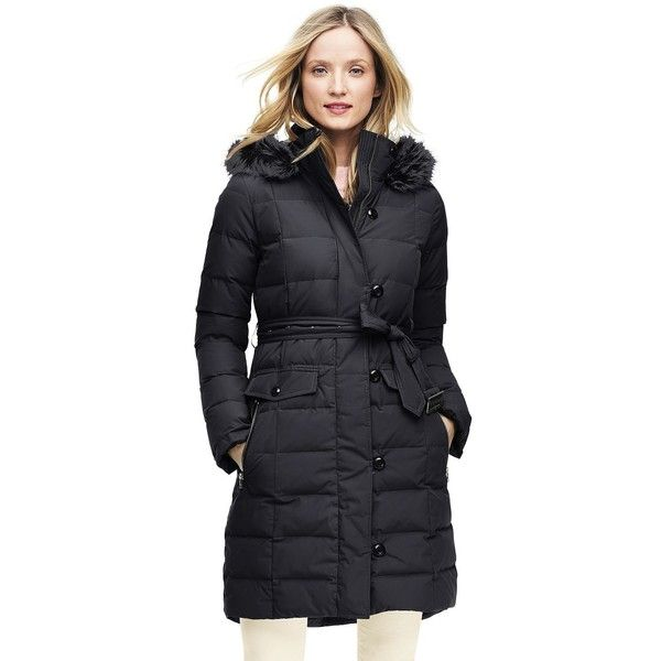 Lands' End Women's Petite Belted Down Coat ($199) ❤ liked on Polyvore featuring outerwear, coats, black, knee length coat, petite down coat, faux fur trim coat, tie belt and hooded coat