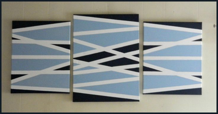 3 Painters Tape Art Canvases by Heather