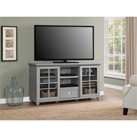Ameriwood Home Aaron Lane 55 inch TV Stand, Gray, Black