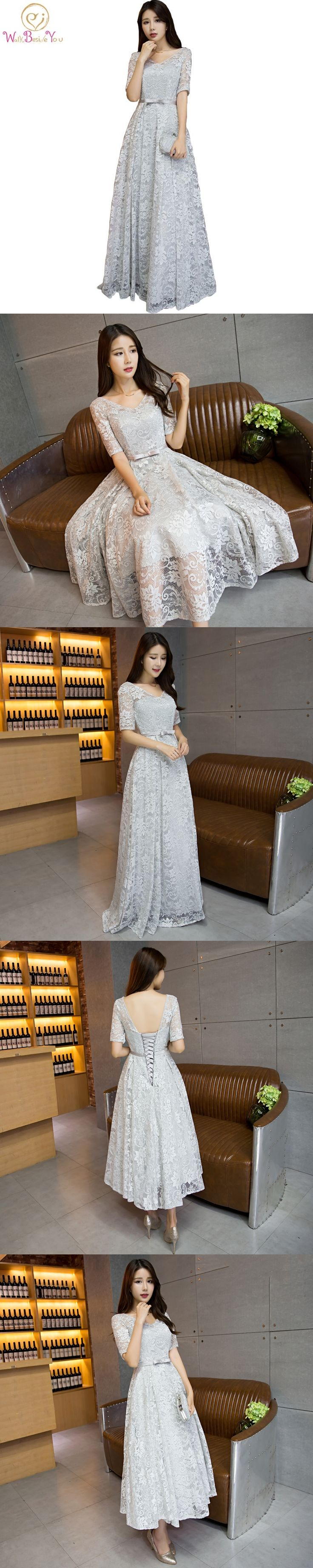 100% Real Image Cheap Elegant Silver Evening Dresses for Pregnant Women with Bow Half Sleeves Floor Length Party Formal Gowns