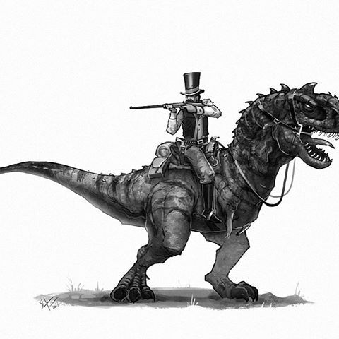 As one of the most wanted outlaws, he ain't afraid of no one. #oldwest #majungasaurus #dinosaur #dinosaurs #cowboy #creaturedesign #characterdesign #instagood #art #illustration #draw #drawing #conceptart #instaart #outlaw #animals