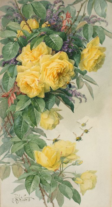 """Flowers And Bees"" - Paul de Longpre, Watercolor c.1855-1911 - From The Cooley Gallery"