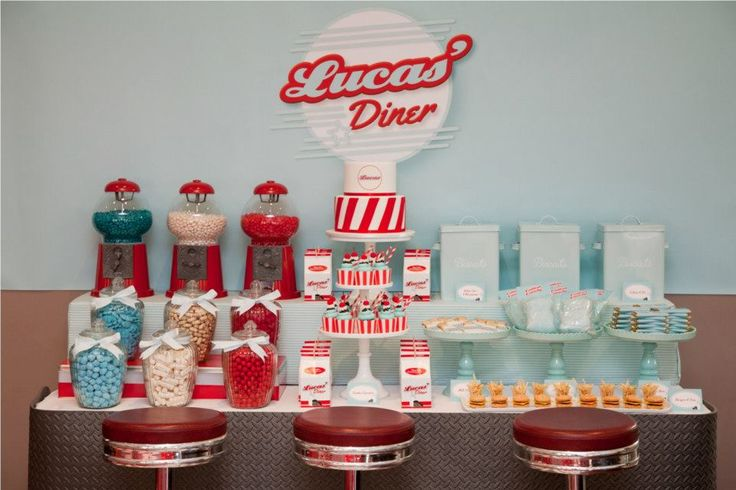 Retro 50′s Diner Party Theme - love the candy display!