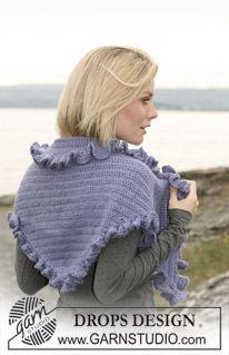 Crochet shawl with wavy border in 2 threads �Alpaca� (DROPS 108-44)