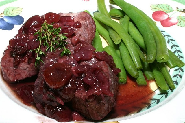 Pork chops with cherry-port sauce