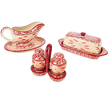temp-tations Old World 7 Piece Table Accessory Set - CRANBERRY