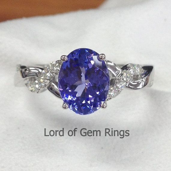 Angara Oval Tanzanite Solitaire Ring With Petal Motifs in 14k Rose Gold UKw61e