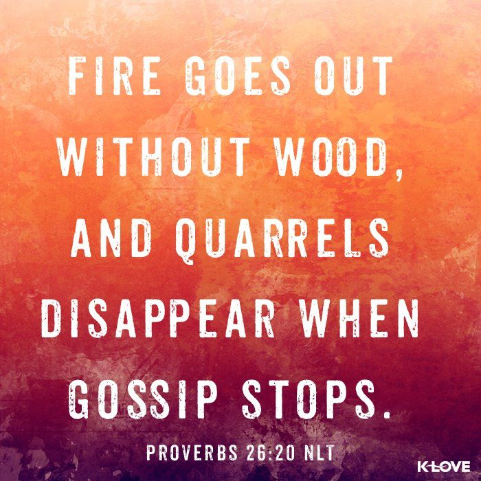 Fire goes out without wood, and quarrels disappear when gossip stops.....Proverbs 26:20.........4....<3