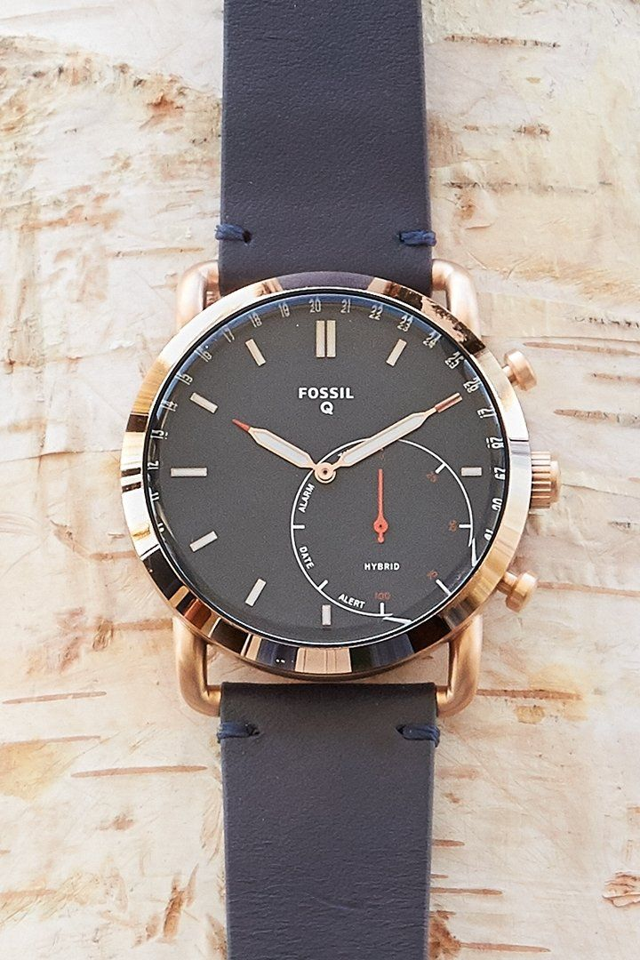 Hybrid Smartwatch Commuter Navy Leather In 2019 Fossil