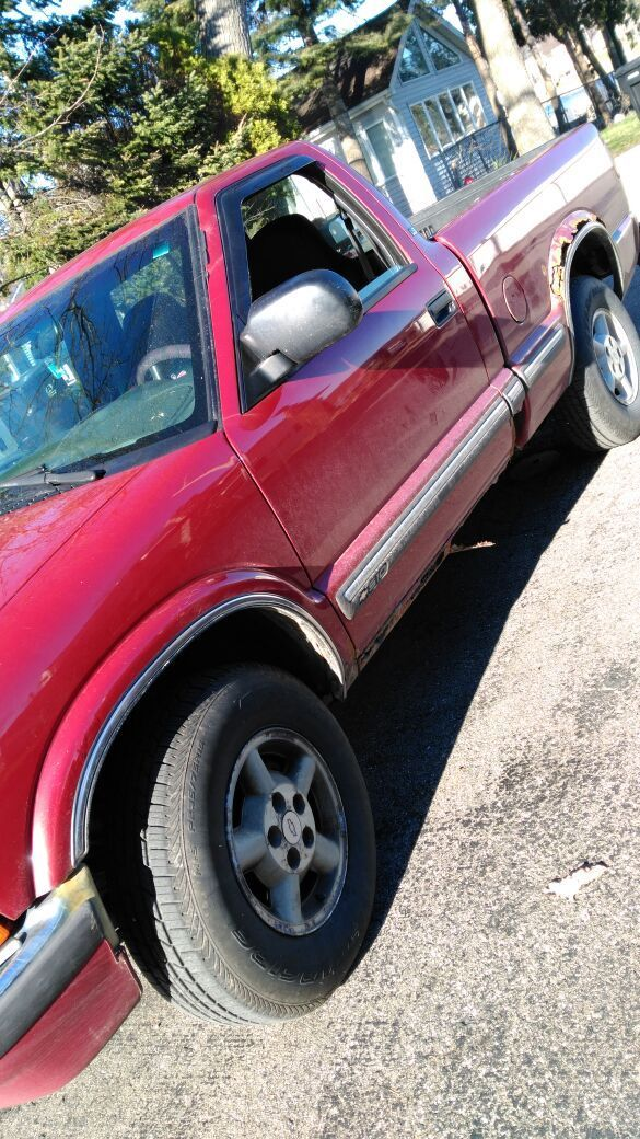 Used (normal wear) - 2000 Chevy s10 for sale or trade.(will trade for a car or something bigger than my truck that doesn't not need much work) 234k+ miles, all four new tires, new altinator, new power steering pump. Door needs work (will cost $150-200) manual windows, automatic trans. $3500 OBO 4x4 V6 for more pictures message me