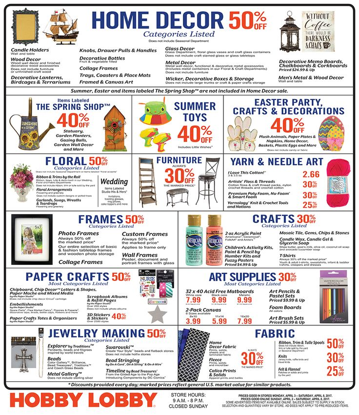 Hobby Lobby Weekly Ad April 2 - 8, 2017 - http://www.olcatalog.com/grocery/hobby-lobby-weekly-ad.html