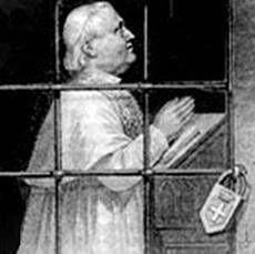 Immagine diffusa in molte parrocchie per enfatizzare la prigionia di Pio IX in Vaticano dopo la presa di Roma. Tratta dal sito: http://www.unavox.it