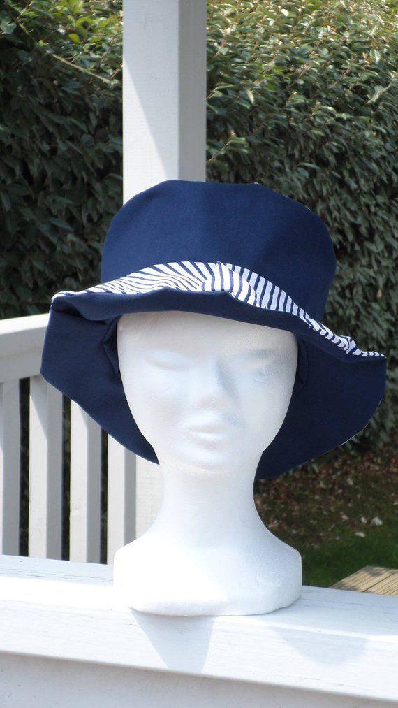 8641ebc1e797 chapeau d été chapeau de soleil  enfant  lin eva  confortable  coton  bleu  marine  imprimé rayures  marin collection printemps été 2018