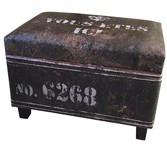 Nach Rectangular Industrial Faux Leather Storage Stool And Ottoman