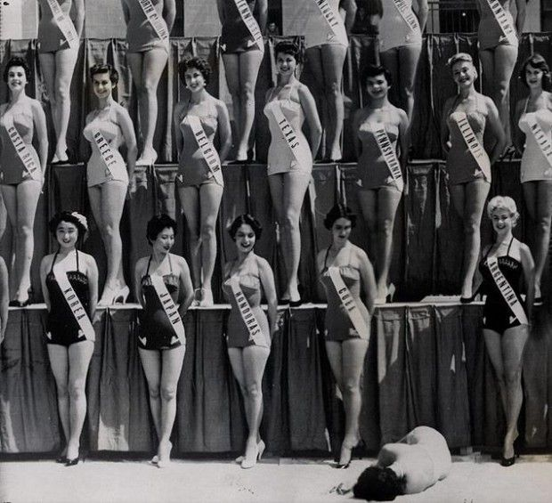Miss New Zealand collapses during the Miss Universe pageant, 1954
