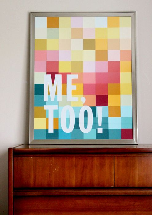 Instead of grabbing a gallon at the hardware store,snag a couple whole buncha of paint chips instead, and fill an inexpensive thrift store frame with tons of color and a bit of type, and be on your way.