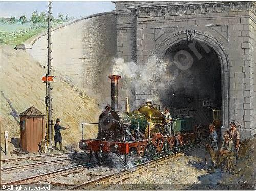 images of terence cuneo railway paintings | CUNEO Terence Tenison - Firefly Leaving Box Tunnel, Great Western ...
