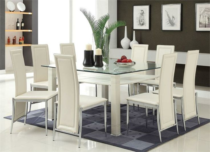 Modern Cream U0026 Chrome Glass Dining Table W/ Six Chairs