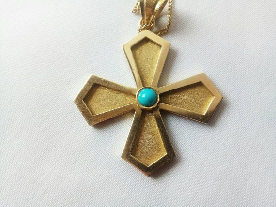 Vintage 18k Yellow Gold Cross with turquoise  Pendant  Charm