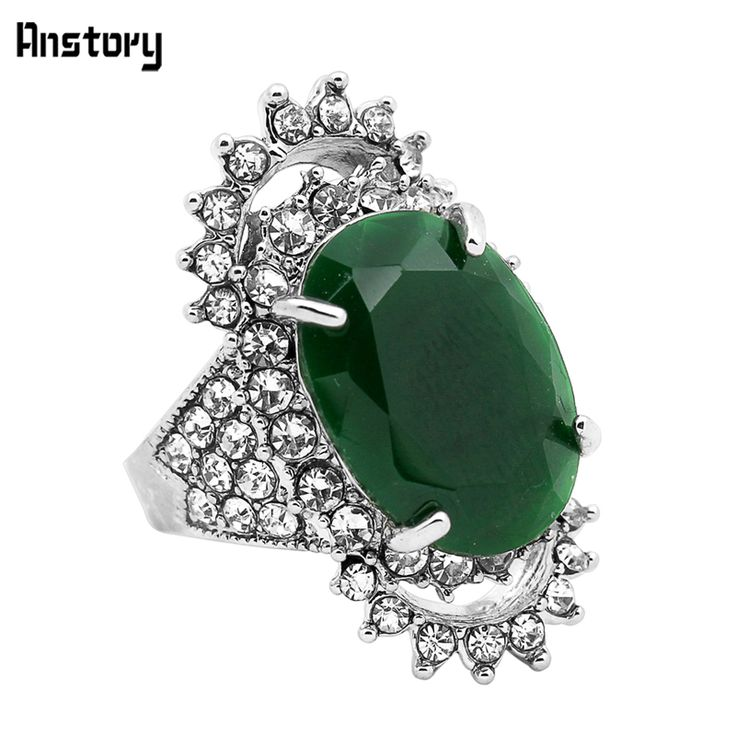 Fashion Jewelry Tibetan Alloy Silver Plated Crystal Agate Hollow Flower Rings TR436