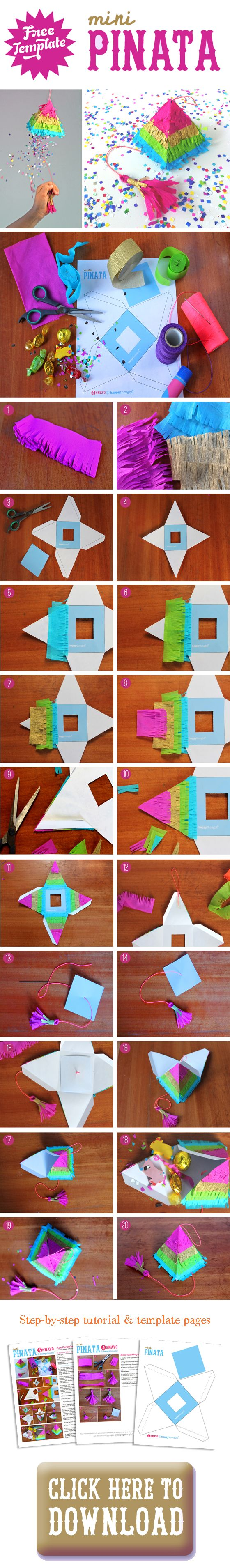 Cute mini rainbow pinata ideas for parties, classroom activities and homeschool art classes. Free photo tutorial and template included in your download. We wanted to make a fully functioning mini pinata, so ours too has a pull string. It's been tried and tested by the kids, so we can report that it works beautifully! Also how to make a tassel is featured on our blog here - https://happythought.co.uk/craft/tutorials/how-to-make-a-pinata