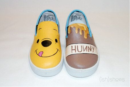 Hand Painted Winnie the Pooh Shoes.  My sister in law would LOVE these!