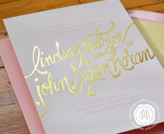 Pink and Gold Foil Calligraphy Wedding Invitation Suite