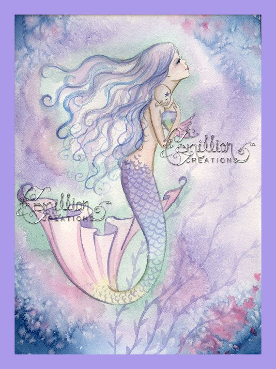 Sweet Morning Mermaid and Baby Print  from Original Watercolor Painting by Camille Grimshaw