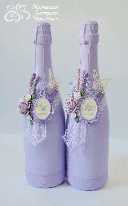 Свадебные аксессуары ручной работы. Ярмарка Мастеров - ручная работа. Купить Оформление бутылок с лавандой. Handmade. Свадебные аксессуары, лепнина