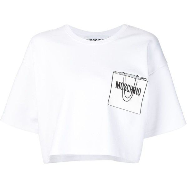 Moschino Shopping Bag Print Sweat Top ($525) ❤ liked on Polyvore featuring tops, hoodies, sweatshirts, white, short sleeve crop top, print crop top, short sleeve sweatshirts, loose crop top and white top