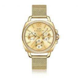 Coach Boyfriend Gold-Tone Stainless Steel Mesh Bracelet Watch 14502490
