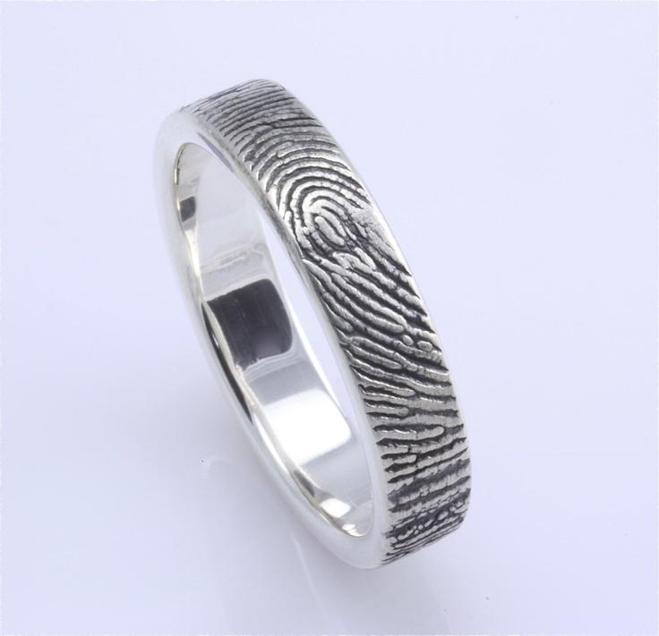 3mm Sterling Silver Custom Fingerprint Wedding/Commitment Ring with Fingerprint Wrapped on the Outside.Wedding Ring, Custom Fingerprints, Fingerprints Wraps, Handmade Fingerprints, Custom Handmade, Silver Custom, Sterling Silver, Fingerprints Rings, Fingerprints Band