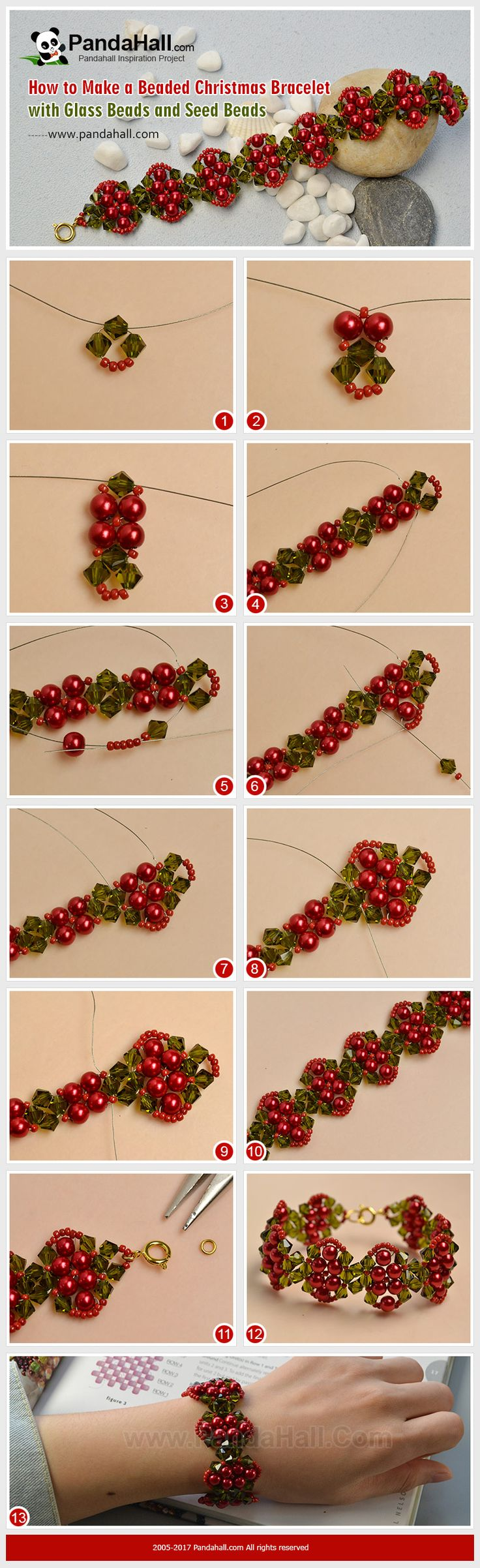 PandaHall Christmas Craft Idea-----Beaded Christmas Bracelet with Glass Beads and Seed Beads This red bead bracelet is made with Christmas classic materials, including red glass pearl beads, red seed beads and green glass beads, which is very proper to wear in such a festive holiday. Just need a little beading skills and do not take too much time, you can try it at home. #PandaHall #Christmas #jewelry #bracelet #stitch #pearl #diy #tutorial #craft #jewelrymaking #promotion