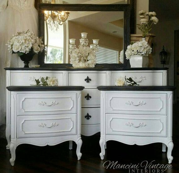 French Provincial Glam Boudoir Bedroom Set Black And
