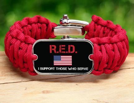 Wide Survival Bracelet™ - RED Friday Flag Tag