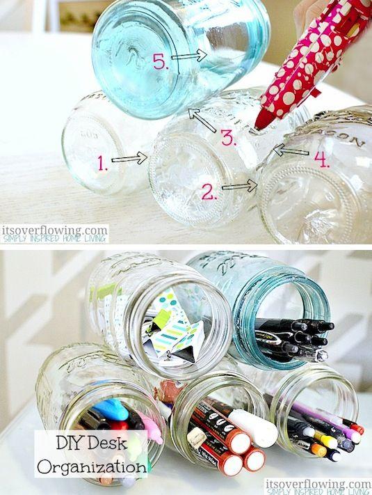 Mason jar organization idea 20 Of The Best Mason Jar Projects | Use them to create a cute desk organizer!