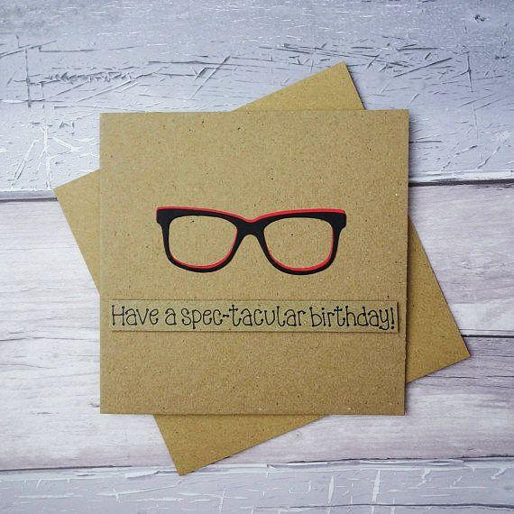 Funny birthday card Spectacles Happy Birthday card Birthday