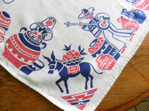This sturdy linen tablecloth has a wonderful Mexican or Southwestern theme with sombreros, singers, musicians, donkeys and pottery in primary red and blue. The cottage size measures 34 square ..great condition. Freshly soaked and laundered, no issues found. I COMBINE SHIPPING, REFUND OVERAGE AND SHIP INTERNATIONAL