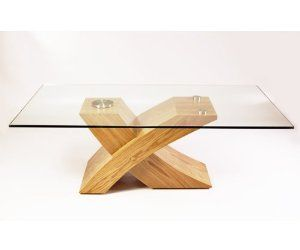 Milano X Glass Wood Coffee Table Oak Kitchen Home Lounge Pinterest
