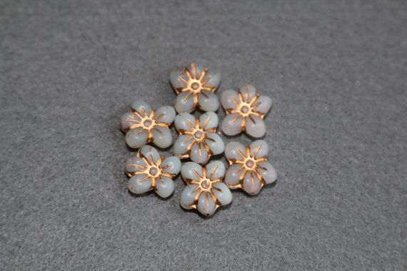 13x14mm Pressed Floral Bead 5 Petal Milky by BohemianSupplyCo