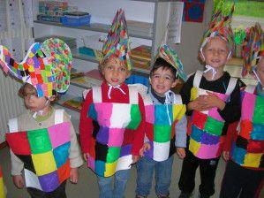 Nous avons préparé la fête pendant longtemps. Nous avons fabriqué le costume d'Elmer. Elmer est un petit éléphant qui est différent. Il n'est pas gris mais de toutes les couleurs.Nous avons appris des comptines et des danses pour présenter à nos parents....