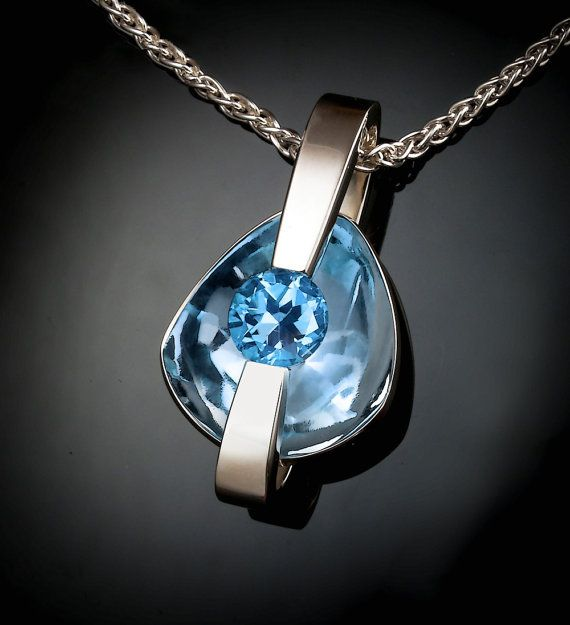 statement necklace - Swiss blue topaz pendant - modern jewelry - December birthstone - eco-friendly silver - 3502