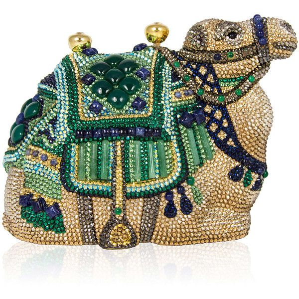 Judith Leiber Couture Sodalite & Green Onyx Crystal Camel Clutch Bag ($6,145) ❤ liked on Polyvore