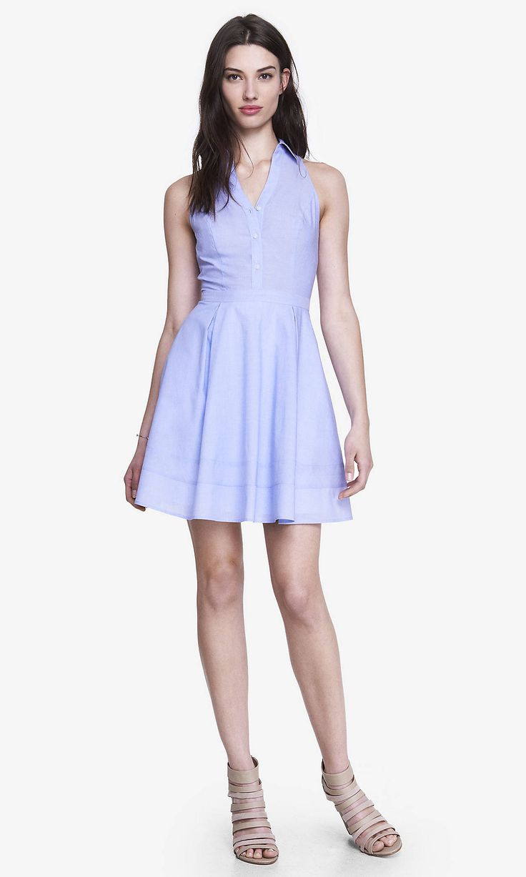 POPLIN FIT AND FLARE SHIRT DRESS - BLUE | Express. Also comes in white and striped...adorbs!