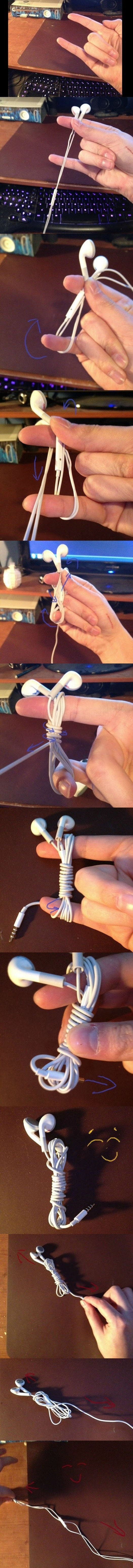 How to store your earphone wire ~ this oughta get me on the treadmill an hour earlier each morning!