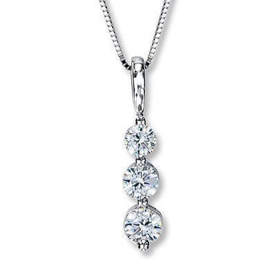Round White Diamond Journey Necklace Pendant White Gold 14K 1.9 Carat