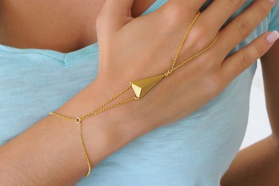 Silver hand chain Gold slave bracelet 925 sterling by Wavejewels