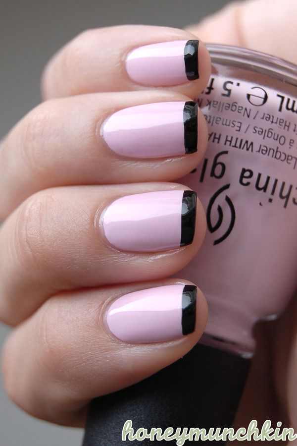 Black and Pink French Nails
