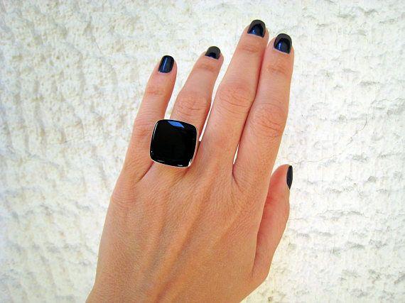 Onyx black ring black statement ring black resin ring